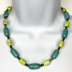 Faux Turquoise Stone & Silver Tone Beaded Necklace